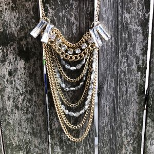 Layered Gold Chain & Rhinestone Statement Necklace